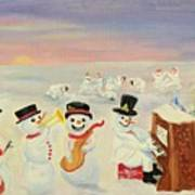The Happy Snowman Band Art Print