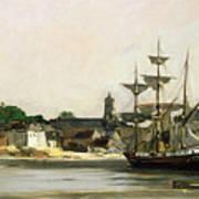 The Harbour At Honfleur Print by Karl Pierre Daubigny