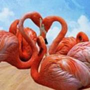 The Heart Of The Flamingos Art Print