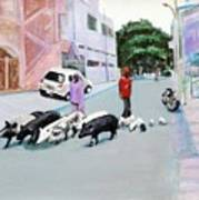 The Herd 5 - Pigs Art Print