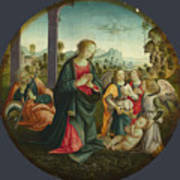 The Holy Family With Angels Art Print
