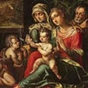 The Holy Family With Saint Anne And Saint John Art Print