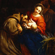 The Holy Family With Saint Francis Art Print by Jacob van Oost