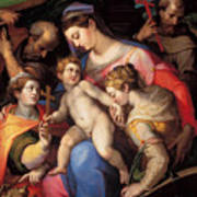 The Holy Family With St Catherine Of Alexandria, St Margaret Of Antioch And St Francis Of Assisi  Art Print