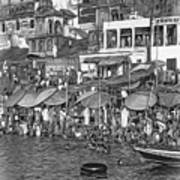 The Holy Ganges - Paint Bw Art Print