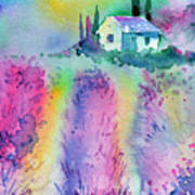The House By The Lavender Field Art Print