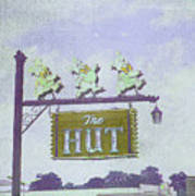 The Hut Bbq Restaurant Sign Art Print by Jerry Grissom