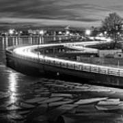 The Icy Charles River At Night Boston Ma Cambridge Black And White Art Print