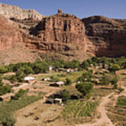 The Indian Village Of Supai Sits Art Print
