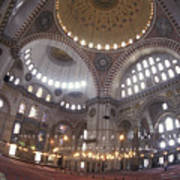 The Interior Of The Suleymaniye Mosque Print by Richard Nowitz