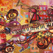 The Jazz Dimension  Art Print by Larry Poncho Brown