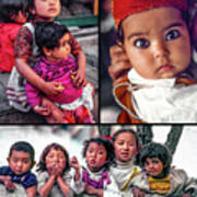 The Kids Of India Collage Art Print