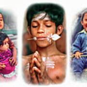 The Kids Of India Triptych Art Print