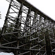 The Kinsol Trestle Panorama View On Snowy Day 1. Art Print