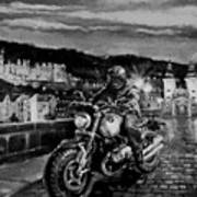 The Knight of Heidelberg-Black and White Version Art Print