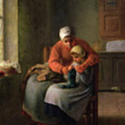 The Knitting Lesson Art Print