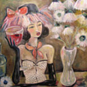 The Lady In The Flower Hat Art Print