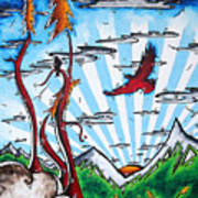 The Last Frontier Original Madart Painting Art Print