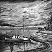 The Last Sunset Before Sailing Black And White Art Print