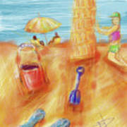 The Leaning Sand Castle Art Print