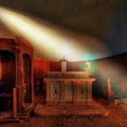 The Light In The Abandoned Church - La Luce Nella Chiesa Abbandonata Art Print