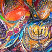 The Light Of Menorah Art Print by Elena Kotliarker