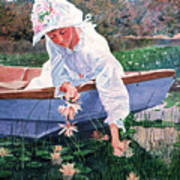 The Lily Gatherer Art Print by David Lloyd Glover