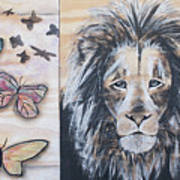 The Lion And The Butterflies Art Print