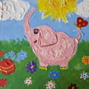Little Pink Elephant Art Print