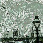The London Eye And A Bridge Art Print