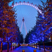 The London Eye At Night Print by Donald Davis