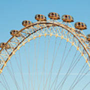 The London Eye Ferris Wheel Against A Cold Blue Winter Sky Art Print