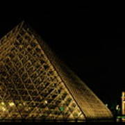 The Louvre Pyramid And The Arc De Triomphe Du Carrousel At Night Art Print