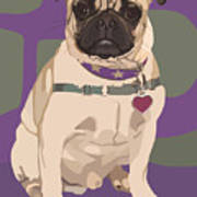 The Love Pug Art Print by Kris Hackleman
