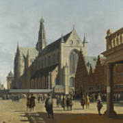 The Market Place And The Grote Kerk At Haarlem Art Print