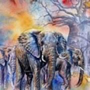 The Masai Mara Elephants Art Print