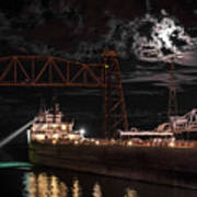 The Michipicoten's Departure Under A Full Moon Art Print