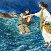The Miracles Of Jesus Walking On Water  Art Print