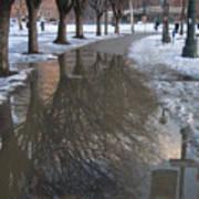 The Mirrored Streets Of Philadelphia In Winter Art Print