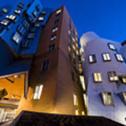 The Mit Stata Center At Night Kendall Square Cambirdge Ma Moon Front Art Print