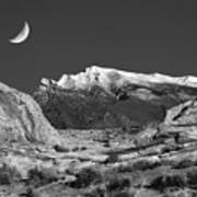 The Moon And The Mountain Range Art Print