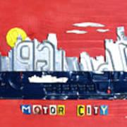 The Motor City - Detroit Michigan Skyline License Plate Art By Design Turnpike Art Print