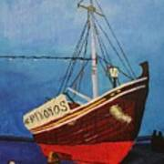 The Mykonos Boat Art Print