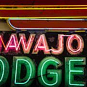 The Navajo Lodge Sign In Prescott Arizona Art Print