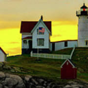 The Nubble Cape Neddick Lighthouse In Maine At Dawn Art Print