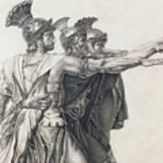 The Oath Of The Horatii, Detail Of The Horatii  Art Print
