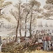The Officers And Seaman Of The Fleet On Shore At Nargen Art Print