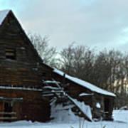 The Old Barn Winter Scene  Art Print