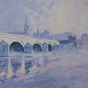 The Old Bridge In Morning Fog Maastricht Art Print