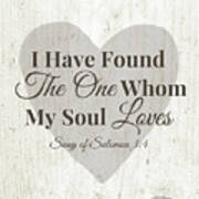 The One Whom My Sould Loves- Art By Linda Woods Art Print